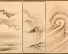 秋田藩九代藩主佐竹義和画「風雨雪」三幅 江戸時代後期
