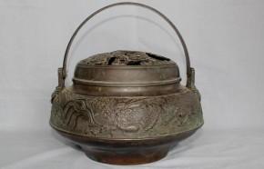 銅製透竹虎龍図手炉 江戸時代