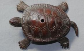 銅製亀の水滴 作家銘あり