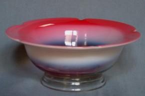ガラス製縁赤五弁輪花形平鉢   明治~大正時代  本物保証