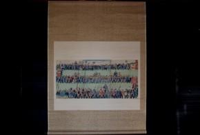 広重版画3枚綴「頼朝公行列之図」掛軸仕立