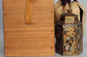 銅製七宝焼金箔貼六角形小物入  明治時代