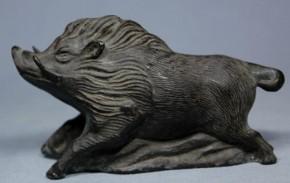 銅製猪水滴 江戸時代