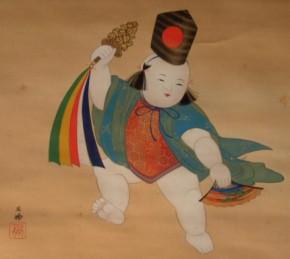 吉村鳳柳画「伊豆倉三番叟之図」 共箱 二重箱(外箱漆塗り)