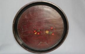 浄法寺塗漆絵盆(竹籠に花) 江戸時代後期