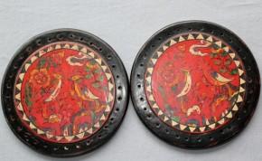 李朝枕の側面丸板(親鶏雛図)2枚 李朝時代後期