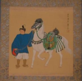 三井萬里画「銀鞍白馬」 共箱(古箱) 盗まれました