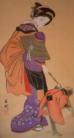 (不倒)鹿子木孟郎画「美人と猿」   盗まれました