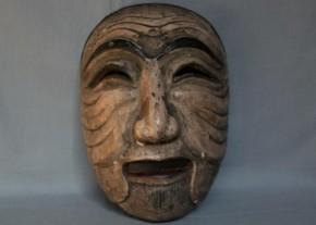 李朝の木彫古面(2) 李朝時代後期 彩色笑面