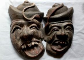李朝の木彫古面(4)一対 李朝時代後期 道化面