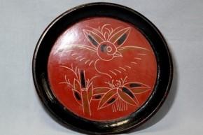 会津塗竹に雀図漆絵盆 江戸時代後期