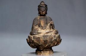 木彫漆箔文殊菩薩騎獅像 桃山~江戸時代初期