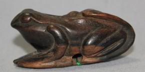 根付(9) 葉に蛙 木製 江戸時代
