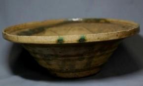 黄瀬戸緑釉流し灰釉中鉢 江戸時代前期~中期