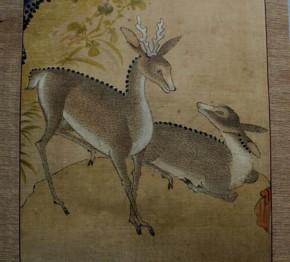 李朝民画花鳥図 (1)屏風剥がし 鹿2頭