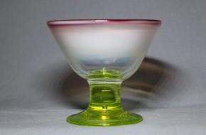 三色ガラスラッパ型氷コップ  明治~大正時代  本物保証