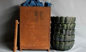 樂家三代道入(のんこう)造「あお菊皿」5客(1) 江戸時代初期 時代箱入り