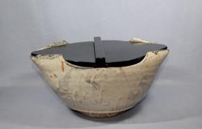 志野舟形鉢(水差仕立)1   江戸時代中期~後期