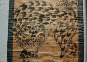 李朝民画「虎と松,鵲図」  李朝時代