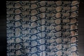 木綿藍染色付き型染夜具地 4幅半 明治時代