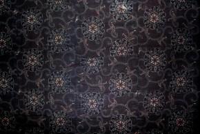 木綿藍染色付き型染夜具地(2) 4幅半 明治時代