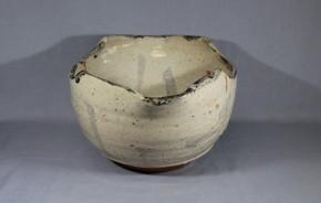 志野舟形鉢(水差仕立)1-1   江戸時代中期~後期