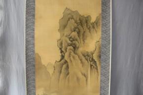 立原杏所画「着色山水図」  江戸時代