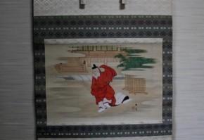 原在泉画「彩色 豊臣秀吉踊之図」掛軸
