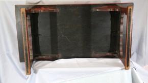 赤漆塗黒漆銀杏葉散図机(1-1)   江戸時代初期~前期