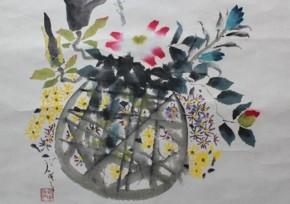 鈴木石甌子「花の四季」掛軸 共箱