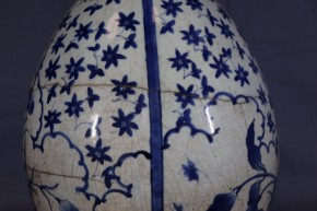 藍柿右衛門染付花・楓図大徳利(1-1)   江戸時代前期