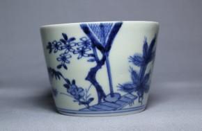 古伊万里松梅竹文大振蕎麦猪口(225) 藍柿右衛門手  江戸時代中期  本物保証