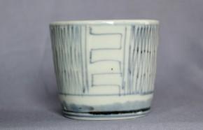 古伊万里網目.折線文蕎麦猪口(119-4) 江戸時代後期