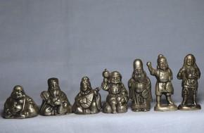 銅製七福神  昭和時代  幸雲造  共箱