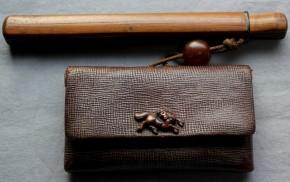 革製煙草入れ.竹製煙管入れ(8)  江戸~明治時代