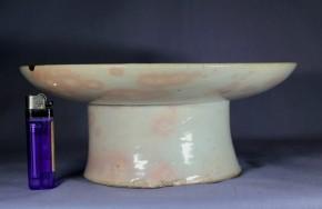 李朝白磁大形高台皿   李朝時代中期(18世紀)