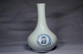 李朝分院手染付壽字徳利       李朝時代後期