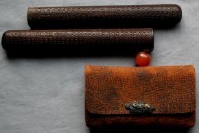 革製煙草入れ.竹製煙管入れ(6)
