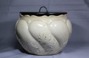 白薩摩白釉陶器水差   江戸~明治時代  黒漆蓋付