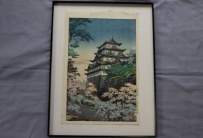 土屋光逸版画名古屋城    昭和12年製作  かつての雄姿を