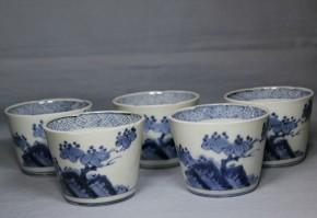 古伊万里岩桐図蕎麦猪口(60-2) 5客  江戸時代後期