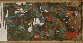 古画「釈迦三尊と十六羅漢図」 額入り 版彩色 江戸時代