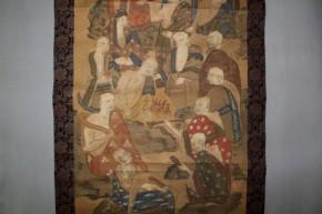 仏画 彩色十六羅漢図 大幅 桃山~江戸時代