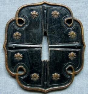 銅製桐図太刀鍔 江戸時代 盗難品