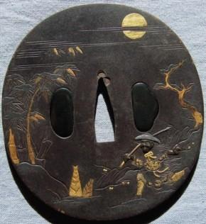 鉄磨き地月夜筍掘り図金銀色柄象嵌大鍔 盗難品