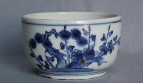 藍九谷手猪口(7) 江戸時代前期