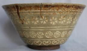 熊本古八代焼(高田焼)象嵌茶碗 江戸時代中期