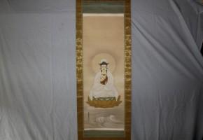 華堂画「彩色雲上観音像」仏画
