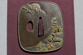 鍔(65)赤銅地夜雁図金銀色絵象嵌鍔 江戸時代 石黒政美彫銘