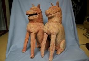 木造狛犬一対  鎌倉~室町時代